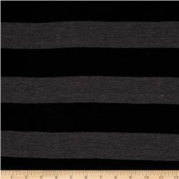 Yarn Dyed Jersey Knit Stripe Black/Charcoal