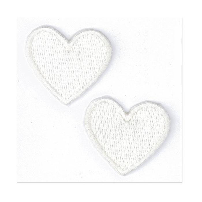 Boutique Applique Hearts White