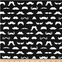 Merry Mustaches Mustache Black Fabric