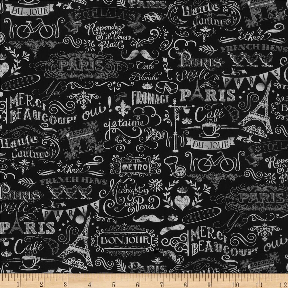 Timeless Treasures Paris Chalk Art Black