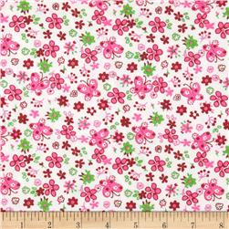 21 Wale Corduroy Flowers & Butterflies Pink/Green Fabric