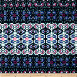 Liverpool Double Knit Print Floral Blue Ground/Green/Pink