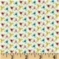 Catalina Flannel Mini Flowers White