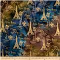 Indian Batik Metallic Eiffel Tower Multi