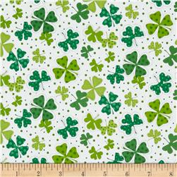 Shamrocks Large White Fabric