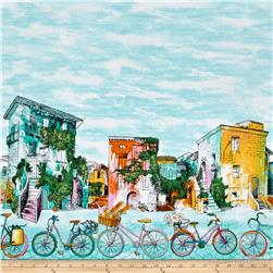 Timeless Treasures European Adventures Bike Scenic Double Border Aqua