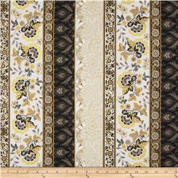 Moonlight Peacock Metallic Floral Border Granite/Gold