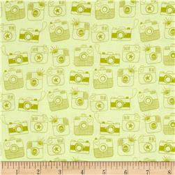 Riley Blake Snapshots Cameras Green Fabric