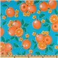 Oil Cloth Oranges Light Blue