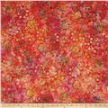 Timeless Treasures Tonga Batik Pinwheel Zinnias Sunset