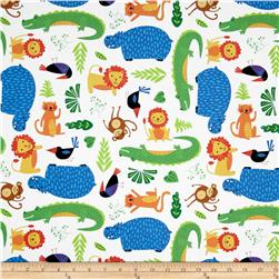 Rainforest Fun Tossed Animals & Leaves White Fabric