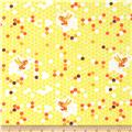 Heather Ross Briar Rose Hex Bee Yellow/White