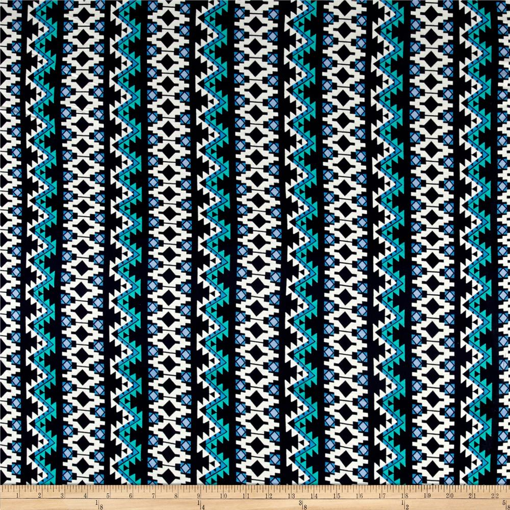 Aztec Stripe Jersey Knit Navy/Jade Fabric By The Yard