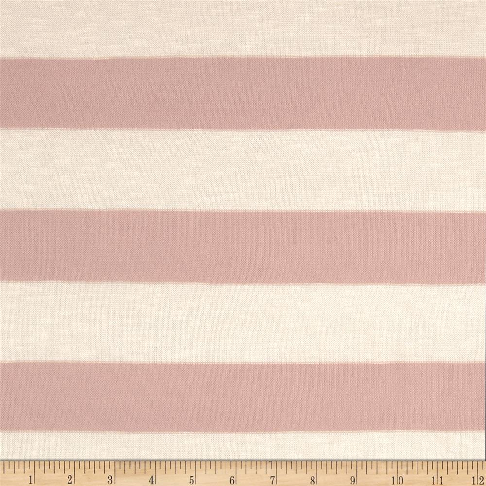 Stretch Yarn-Dyed Hatchi Knit Stripes Antique Rose/Cream