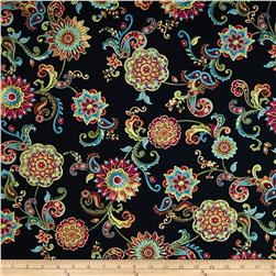 Bellagio Metallic Medallion Floral Black Fabric
