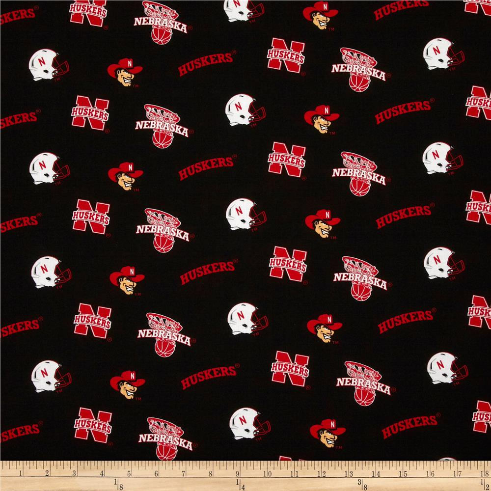 Collegiate Cotton Broadcloth University of Nebraska Black