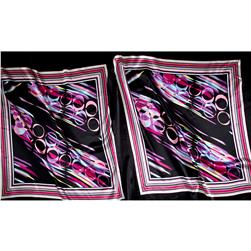 Charmeuse Satin Stripes and Circles Multi Pink/Black