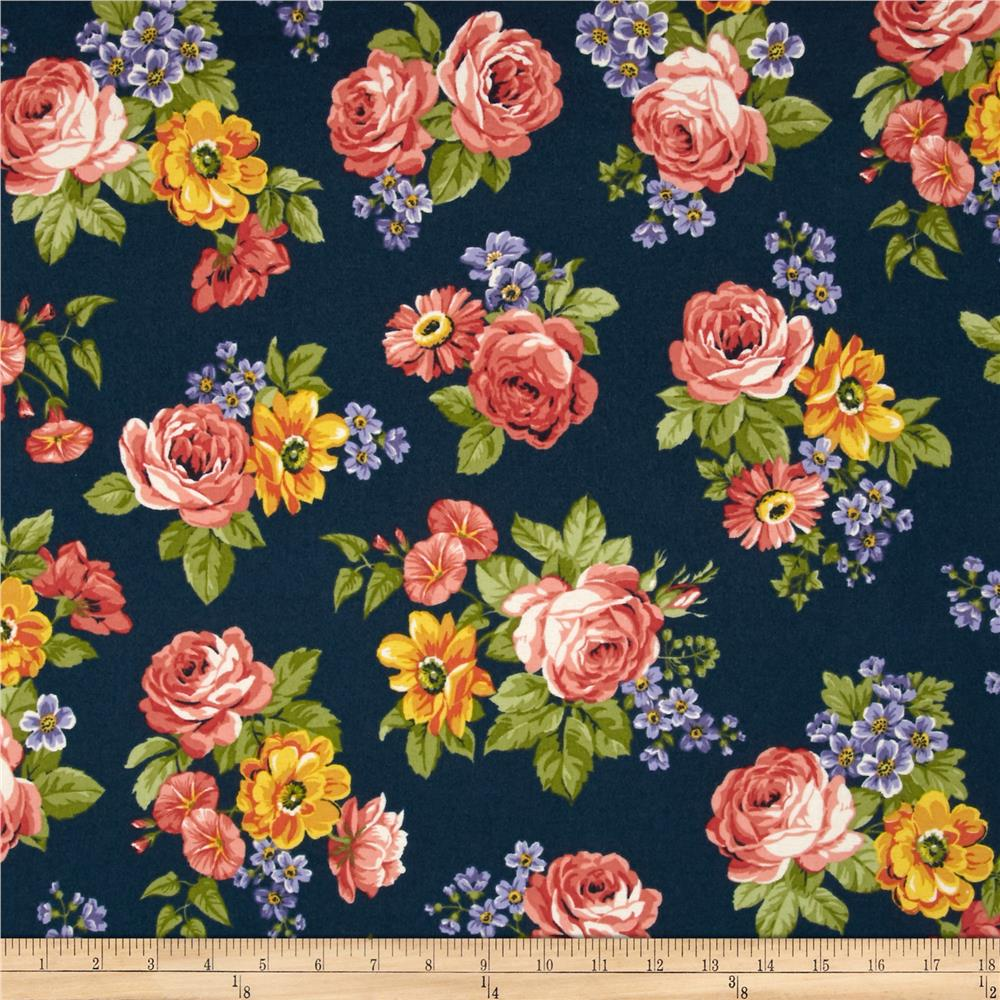 Dover Flannel Large Floral Navy