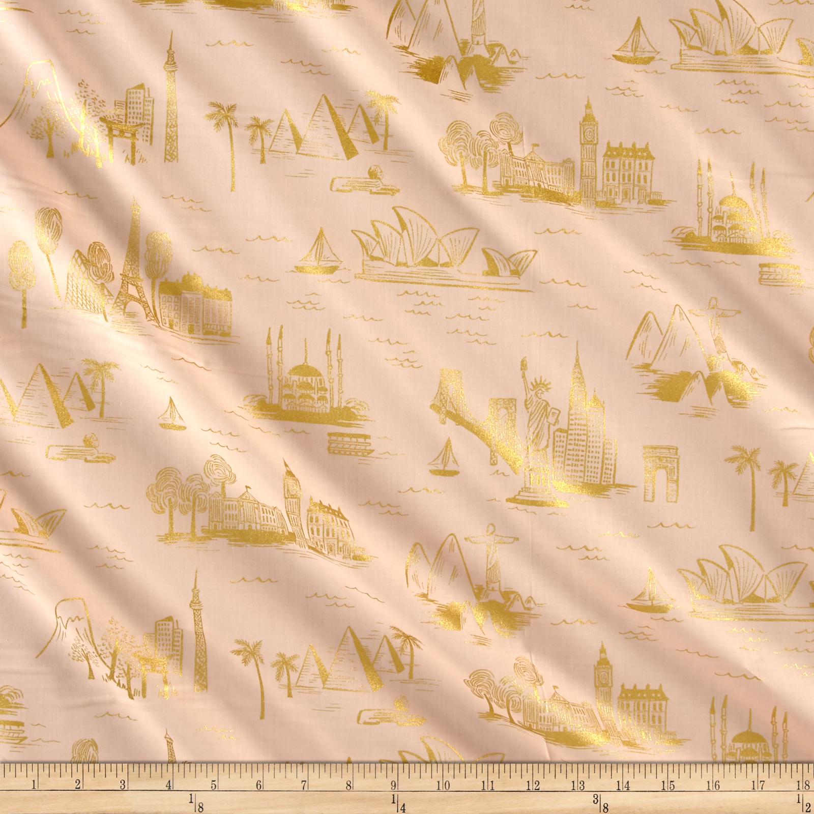 Cotton + Steel Rifle Paper Co. Les Fleurs Lawn Metallic City Toile Peach Fabric by Cotton & Steel in USA