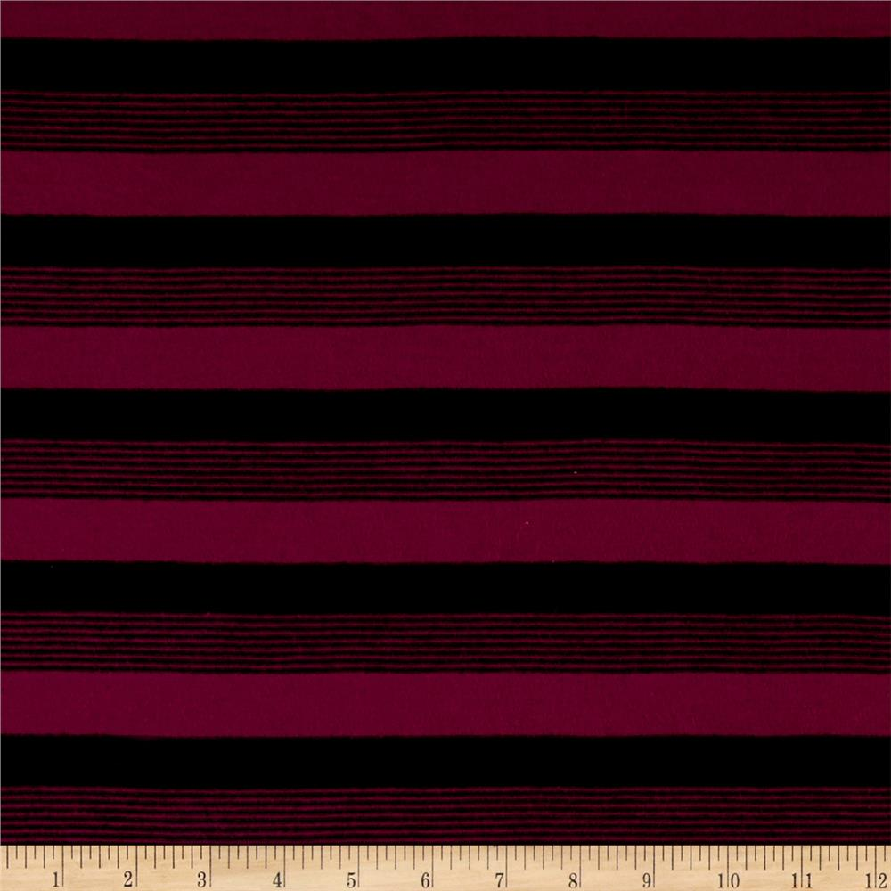 Yarn Dyed Jersey Knit Magenta/Black Fabric