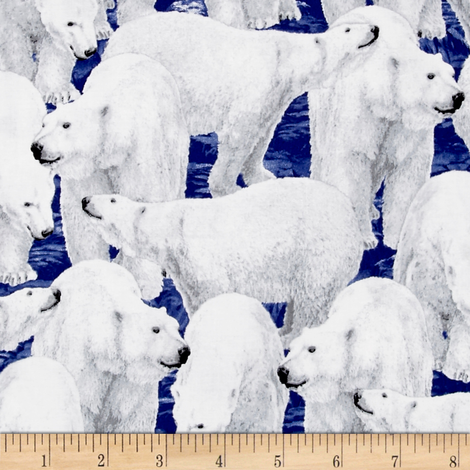 Northern Lights Polar Bears Midnight Fabric by Quilting Treasures in USA