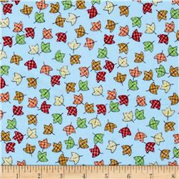 Flannel Tossed Leaves Blue Fabric