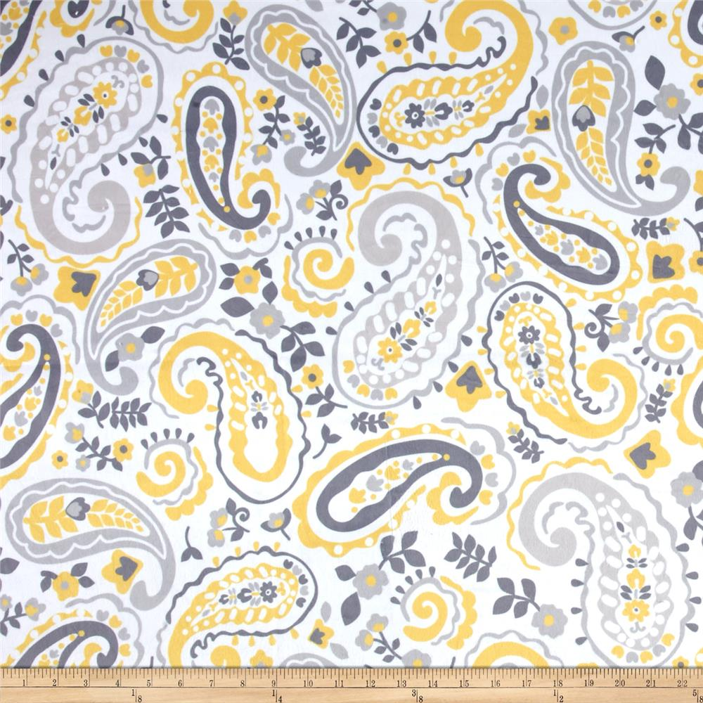 Minky Kashmir Paisley Grey/Yellow