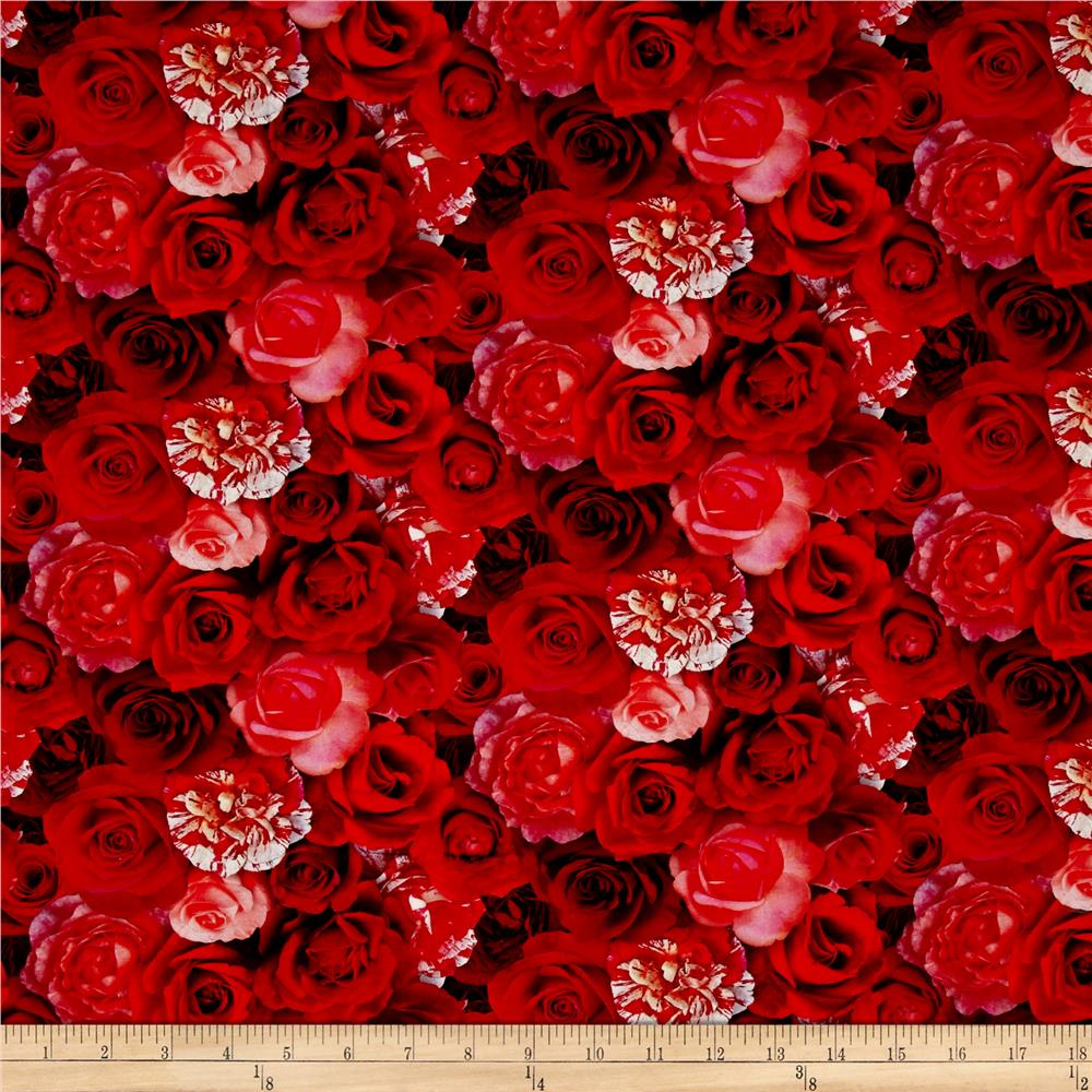 Rose Garden Digital Print Packed Roses Red Fabric