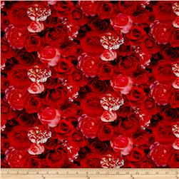 Rose Garden Digital Print Packed Roses Red