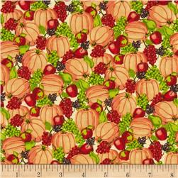 Harvest Bounty Packed Pumpkins & Fruit Orange Fabric
