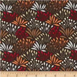 Dear Stella Woodwinked Mod Grass Brown Fabric