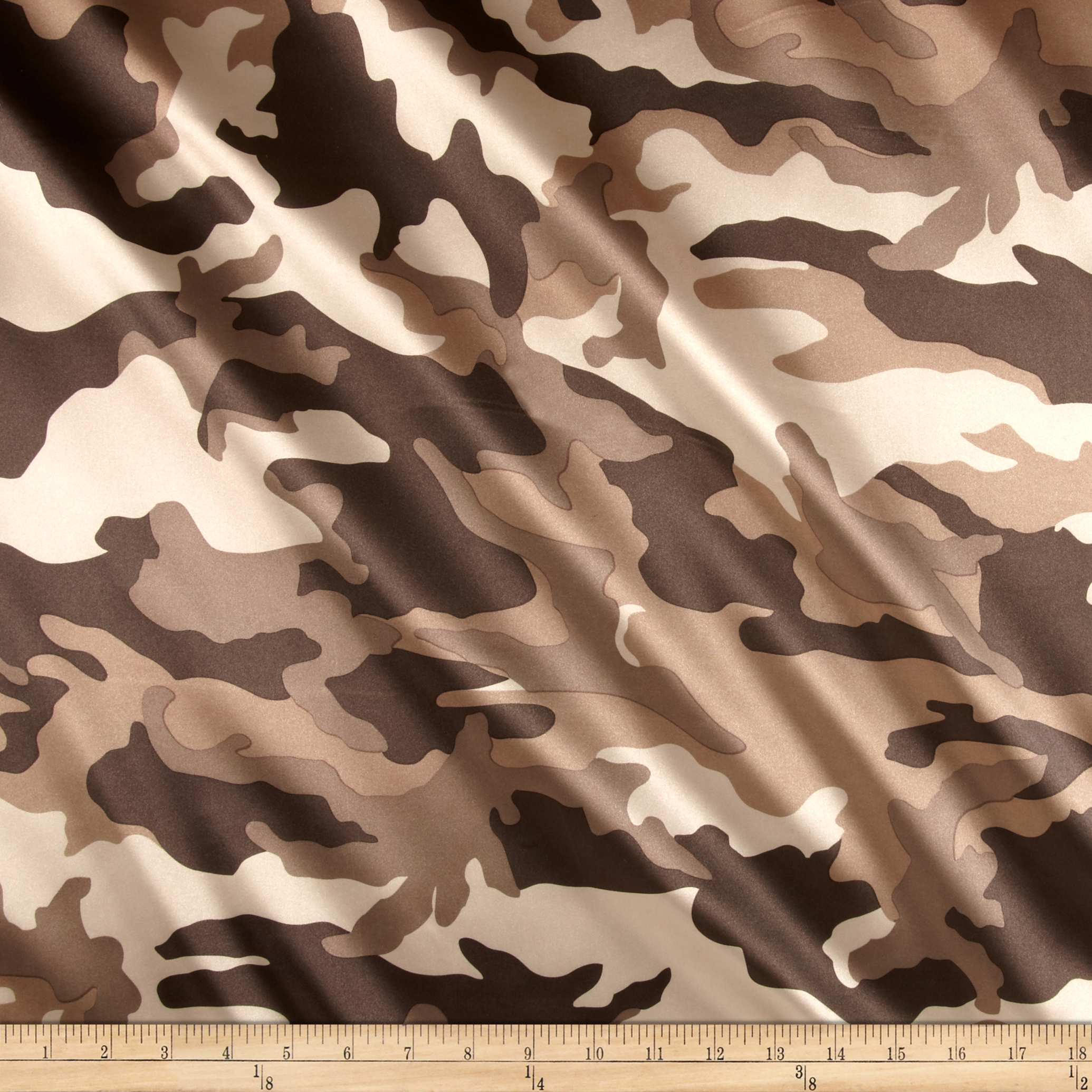 Charmuese Satin Camouflage Brown Fabric by Ben in USA