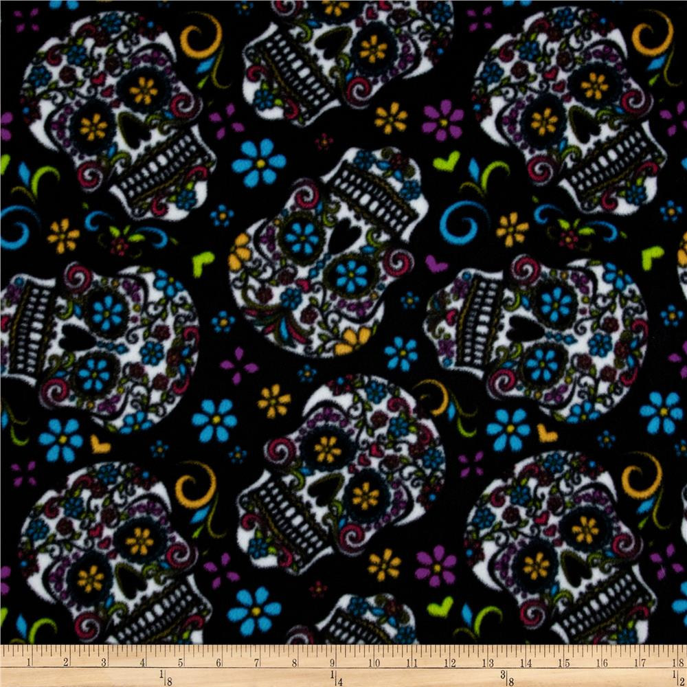 Celebration Fleece Folkloric Skulls Black Fabric By The Yard