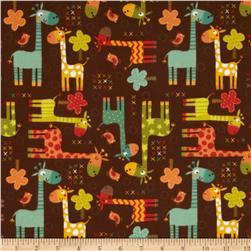 Riley Blake Giraffe Crossing Flannel Giraffe Main Brown