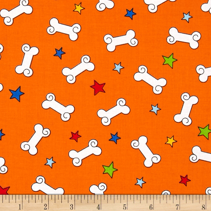 Kanvas Dog-Gonnit! Bad to the Bone Orange Fabric