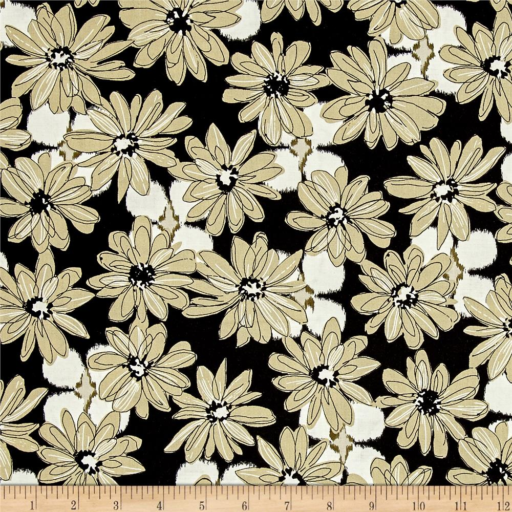 Shadows Paintbox Mini Daisy Black/Taupe Fabric By The Yard