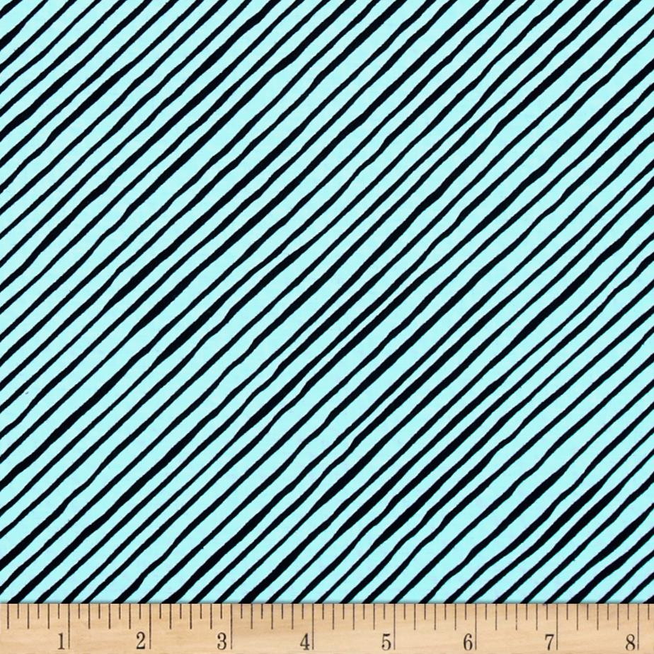 Loralie Designs Dog Gone Stripe Bias Turquoise/Black