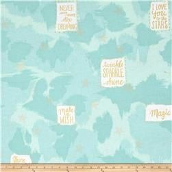 Michael Miller Sarah Jane Magic Metallic You Are Magic Turquoise