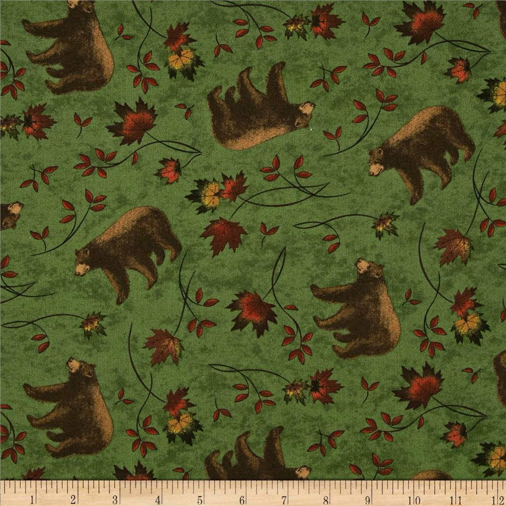 Moda Turning Leaves Bear Print Beech Green