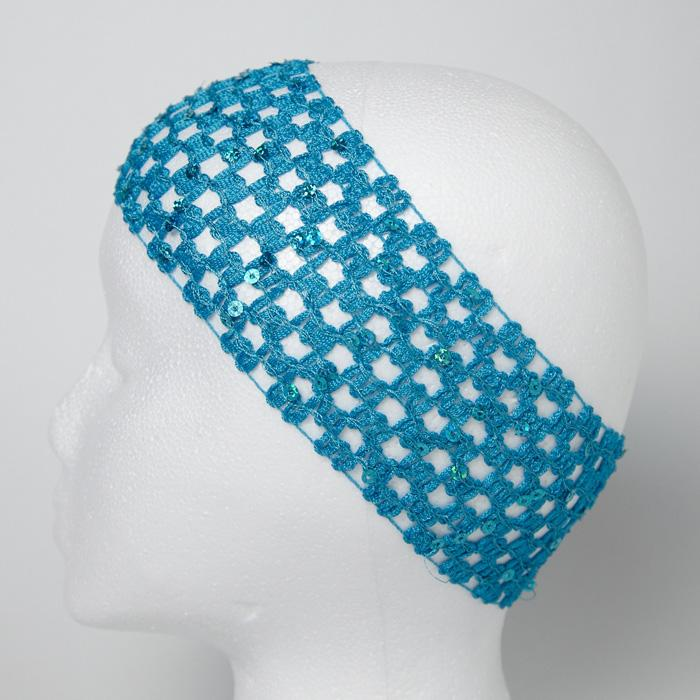 "2 3/4"" Sequin Stretch Crochet Headband Turquoise"