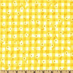 Woven 1/4'' Daisy Gingham Maize Fabric