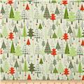 Riley Blake A Merry Little Flannel Merry Trees Taupe