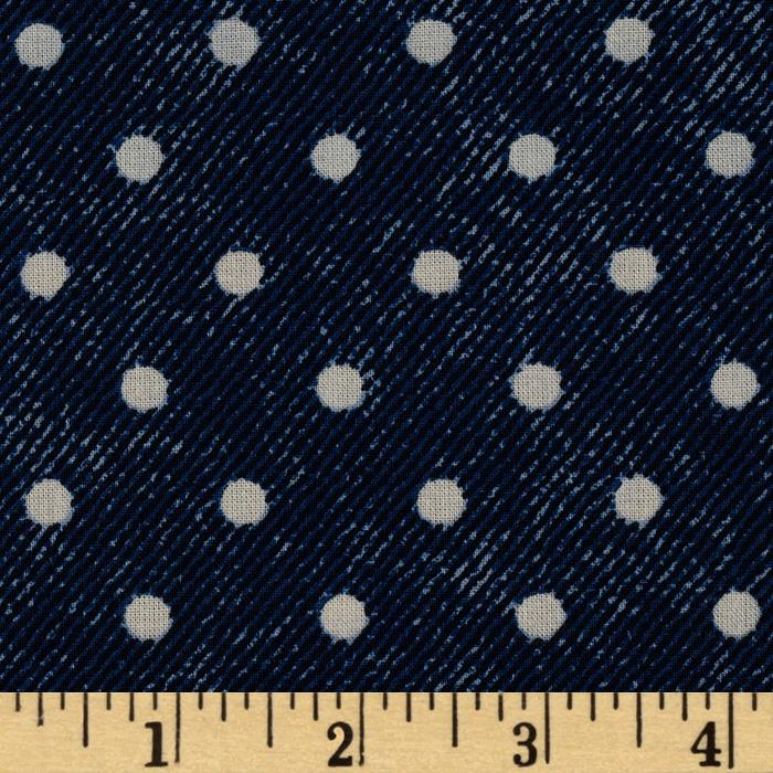 VIP Denim Texture Polka Dot Blue/White
