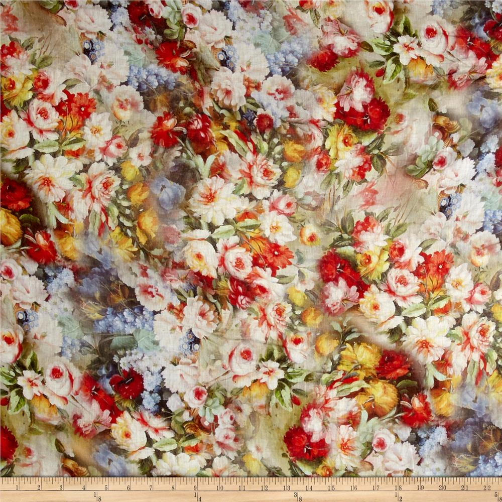 Telio Digital Linen Floral Print Multi Fabric By The Yard