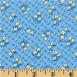 Storybook Vacation Flowers On Chex Blue