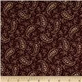 "108"" King Quilt Backs Paisley Wine"