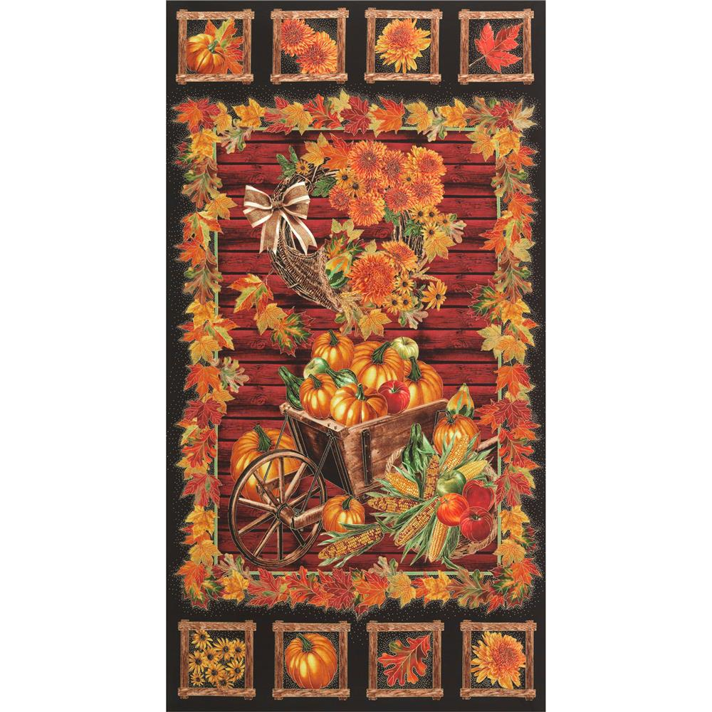 Timeless Treasures Golden Harvest Metallic 24 In. Panel Black