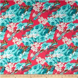Stretch Ponte de Roma Knit Florals Hot Coral Pink/Aqua Green