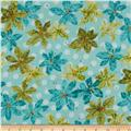 Nancy's Holiday Favorites Flannel Poinsettias Aquamarine
