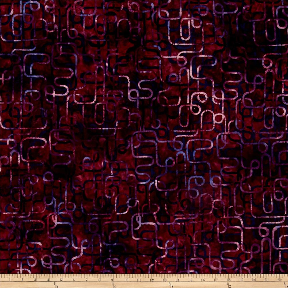Bali Batiks Handpaints Piping Bordeaux